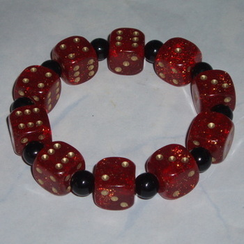 Dice Stretch Bracelet Red Gold Glitter