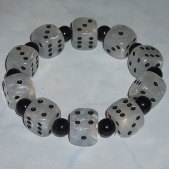 Dice Stretch Bracelet Pearly White Rockabilly Genuine Gaming