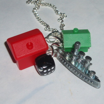 Monopoly Ship Pendant Hotel House Black Dice