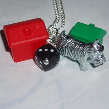 Monopoly Dog Pendant Hotel House Black Dice