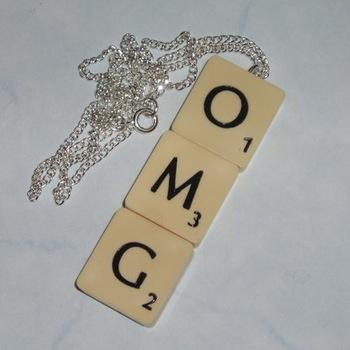 Scrabble Necklace Pendant Triple Tile Letters J K Swarovski