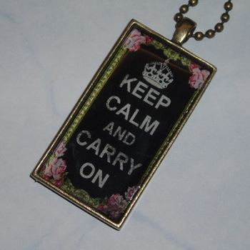 Keep Calm Carry On Roses Pendant