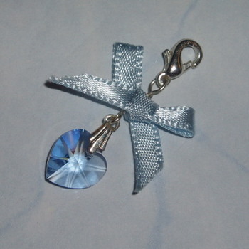 Something Blue Swarovski Crystal Heart Bow Charm
