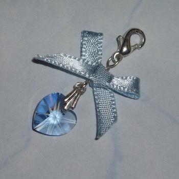 Something Blue Swarovski Crystal Heart Bow Charm