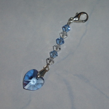 Something Blue Swarovski Crystal Heart Charm Long