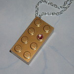 Lego Pendant 4x2 Gold Brick Swarovski Crystal Golden Rare Limited