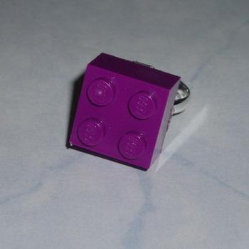 Lego Ring 2x2 Brick Purple Rare Adjustable Geek Emo