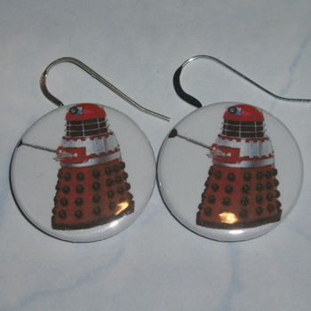 Dr Who Earrings Red Dalek Sterling