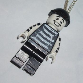 Lego MiniFigure Pendant Black White Mime Artist