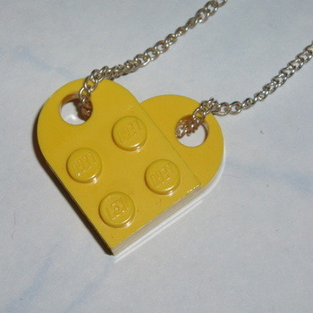 Lego Heart Pendant Yellow