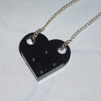 Lego Heart Pendant Black Swarovski Rockabilly Retro