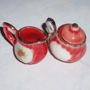 Milk Jug and Sugar Bowl Earrings Dark Peach with Roses
