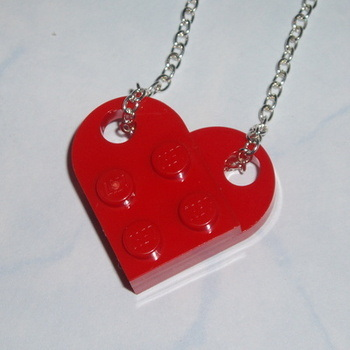 Lego Heart Pendant Bright Red Rockabilly Retro Swarovski