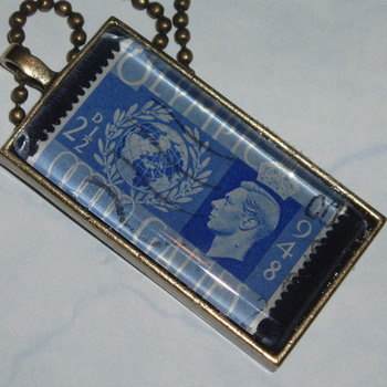 Stamp Pendant 1948 Games Blue Vintage Franked Genuine Retro