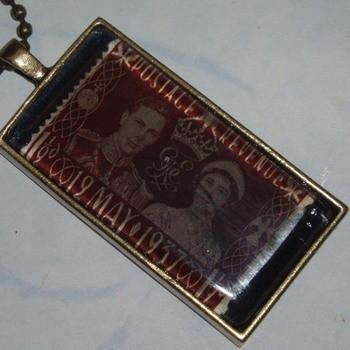 Stamp Pendant 1937 George Elizabeth Wedding Vintage Brown