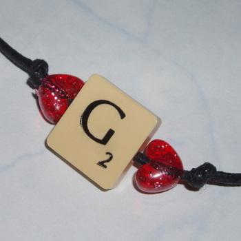 Scrabble Bracelet Cord Vintage Letters Initial Swarovski Heart