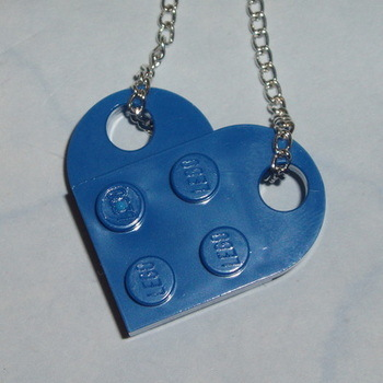 Lego Heart Pendant Blue Swarovski Rockabilly Retro