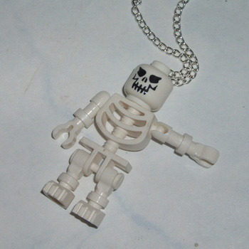 Lego MiniFigure Pendant Skeleton Halloween Scary Geek