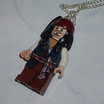 Lego MiniFigure Pendant Pirates Caribbean Captain Jack Sparrow