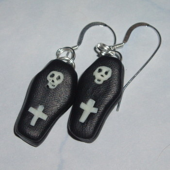 Coffin Earrings Fimo Halloween Creepy Spooky Handmade