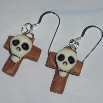 Cross Earrings Skull Spooky Handmade Day Of The Dead