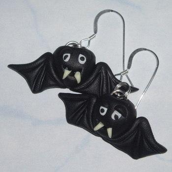 Vampire Bat Earrings Spooky Vampires Fimo Halloween