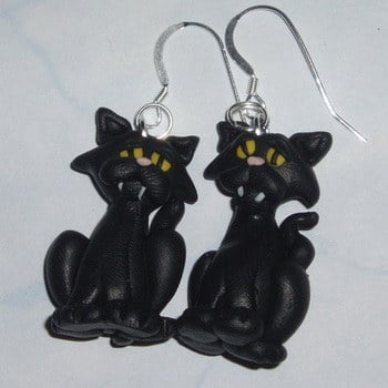 Witches Cat Earrings Scary Black Fimo Halloween