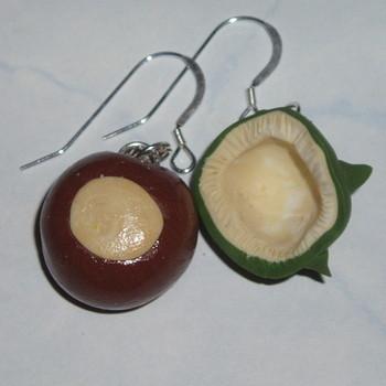 Chestnut Shell Earrings Autumn Fimo Sterling Handmade