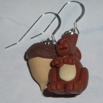 Squirrel and Acorn Earrings Autumn