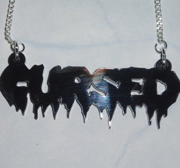 Cursed Necklace Pendant Halloween Black Acrylic Laser Word