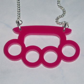Knuckle Duster necklace Pendant Pink Acrylic Laser Kitsch Stylish