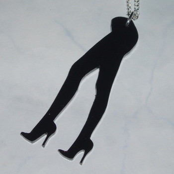 Legs Pendant Necklace Sexy Long Black Acrylic Laser