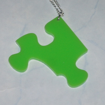 Jigsaw Piece Pendant Green Acrylic Laser Kitsch Stylish