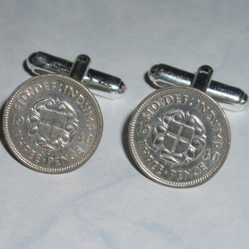 Silver Threepence Cufflinks Coins Thropence Birthday Anniversary