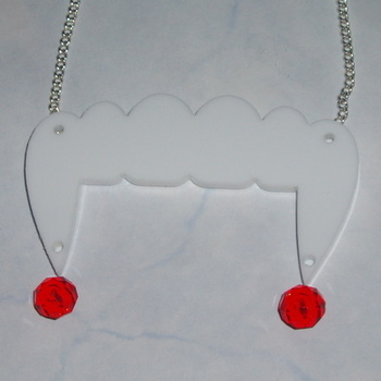 Fangs Necklace Pendant Acrylic White Halloween Blood Red Crystal