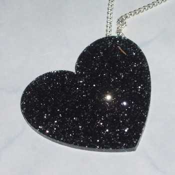 Heart Pendant Black Glitter Acrylic Laser Kitsch Stylish