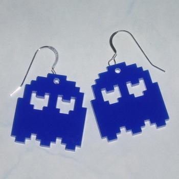 Pac Man Ghost Earrings Blue Acrylic Laser Retro Kitsch Stylish