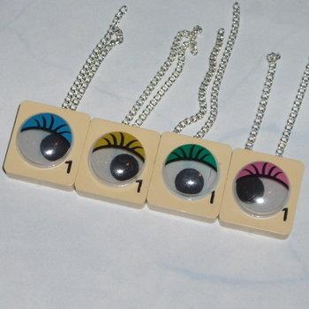 Scrabble Pendant Googly Eyes Eyelashes Vintage Tiles Geek Chic