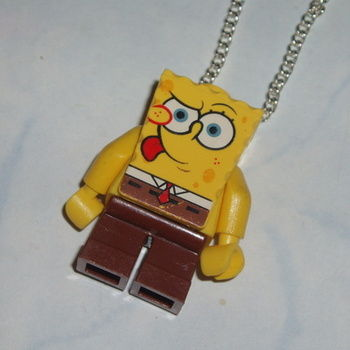 Lego MiniFigure Pendant SpongeBob Tongue Out Geek Retro