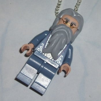 Lego MiniFigure Pendant Harry Potter Dumbledore Wizard Sand Blue