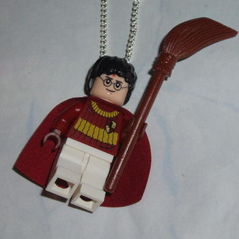 Lego MiniFigure Pendant Harry Potter Quidditch Cape Broomstick