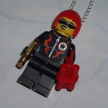 Lego MiniFigure Pendant Miss Dynamite Golden Gun