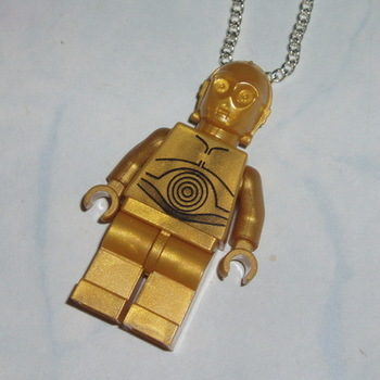 Lego MiniFigure Pendant Star Wars C3P0 Robot Golden