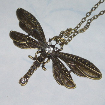 Dragonfly Necklace Pendant Crystal Victorian Vintage Brass