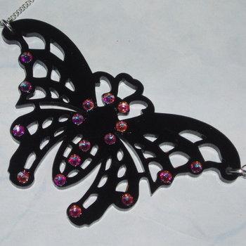Butterfly Necklace Black Glitter Acrylic Swarovski Crystals Laser Cut