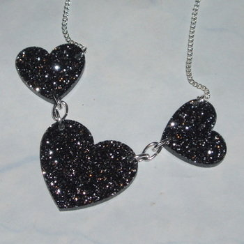 Heart Necklace Three Black Glitter Acrylic Laser Kitsch Stylish