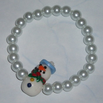 Snowman Bracelet Stretch Christmas Pearls White Teacher Gift