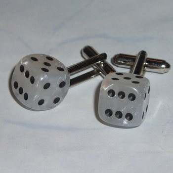 Dice Cufflinks White Pearl Rockabilly Poker Gambler