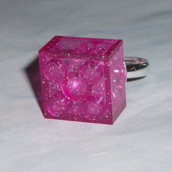 Lego Ring 2x2 Lego Brick Clear Glitter Pink Very Rare