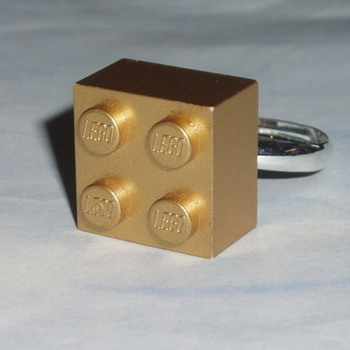 Lego Ring 2x2 Brick Gold Swarovski Rare Geek Retro